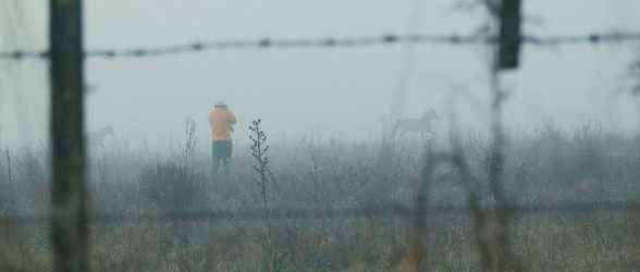 """Fine-art photographer Eliseo Miciu surround by mist whilst photographing horses - Still frame from the documentary """"Land of The Wind"""""""